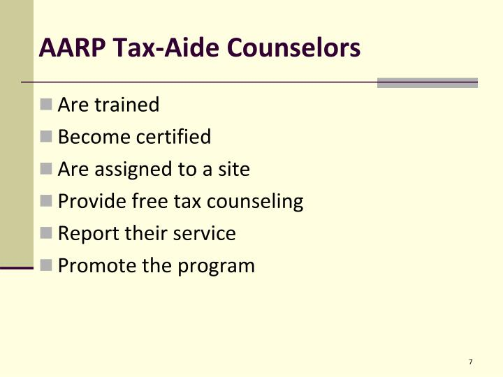 AARP Tax-Aide Counselors