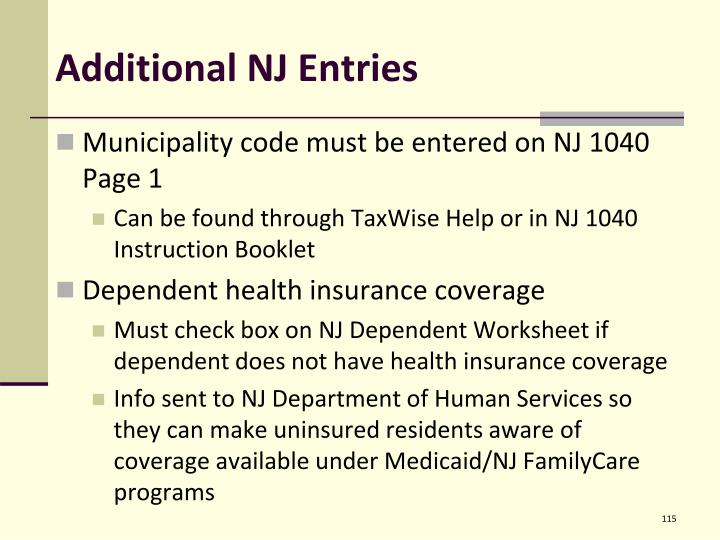 Additional NJ Entries