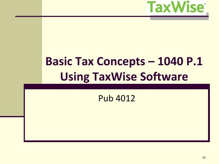 Basic Tax Concepts – 1040 P.1