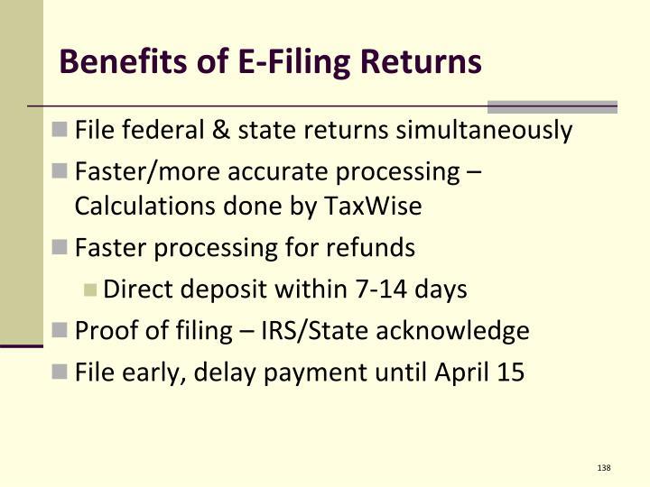 Benefits of E-Filing Returns