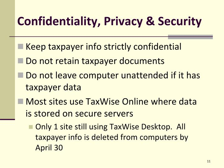 Confidentiality, Privacy & Security
