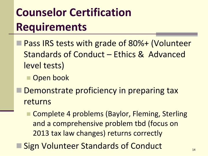 Counselor Certification Requirements