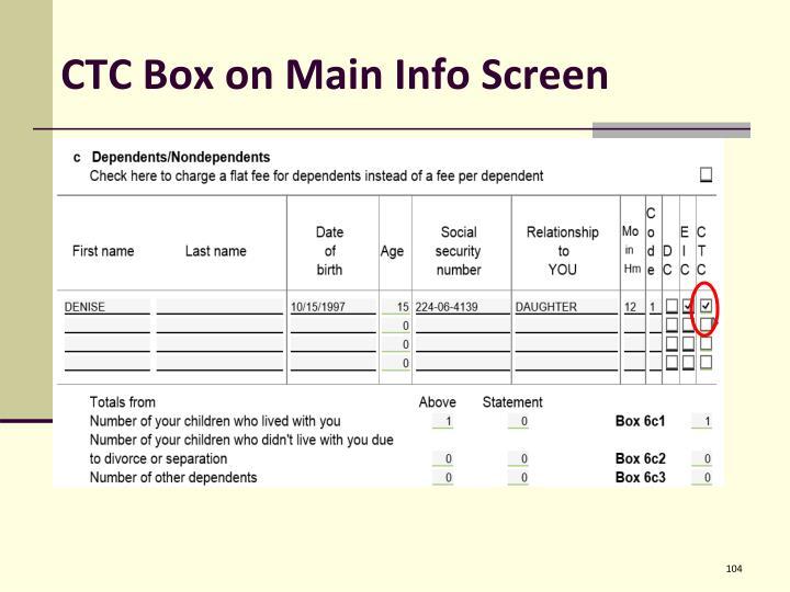 CTC Box on Main Info Screen