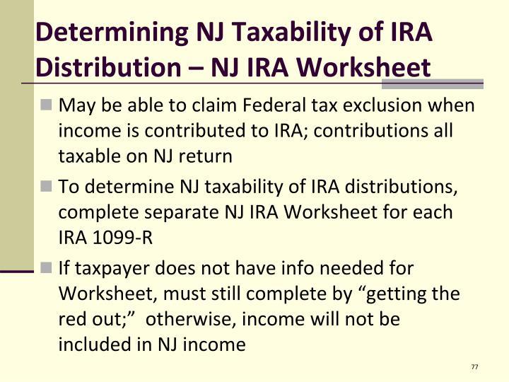 Determining NJ Taxability of IRA Distribution – NJ IRA Worksheet