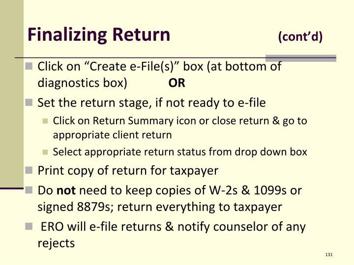 Finalizing Return