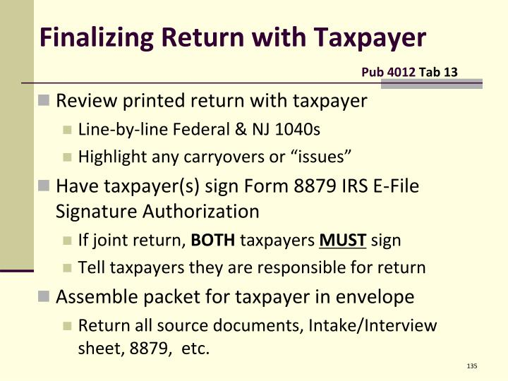 Finalizing Return with Taxpayer