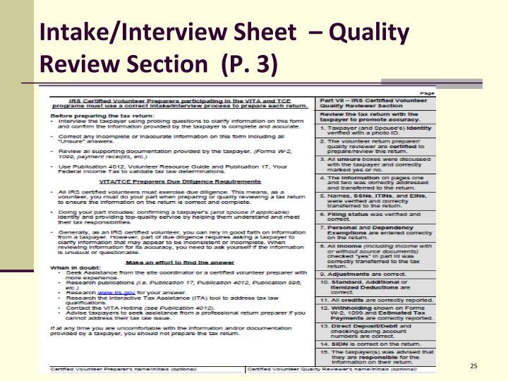 Intake/Interview Sheet  – Quality Review Section  (P. 3)