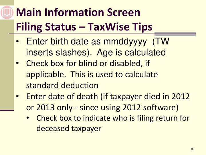Main Information Screen