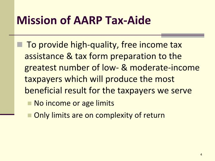 Mission of AARP Tax-Aide