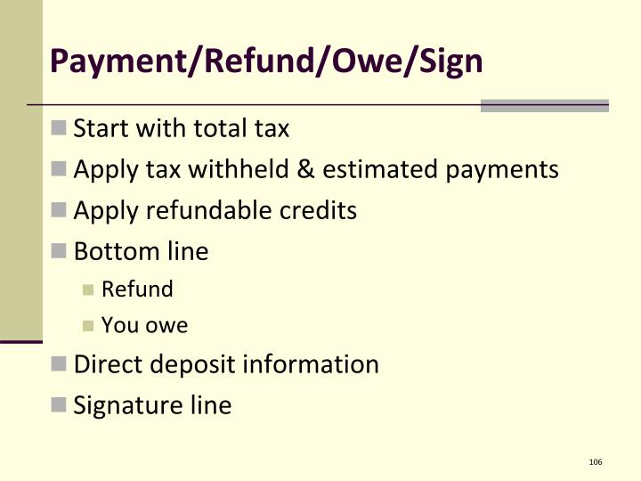 Payment/Refund/Owe/Sign