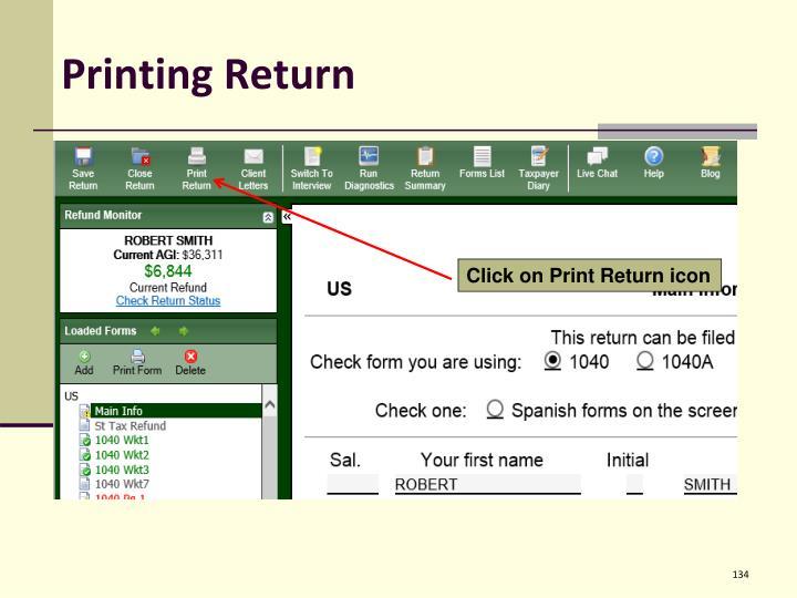 Printing Return