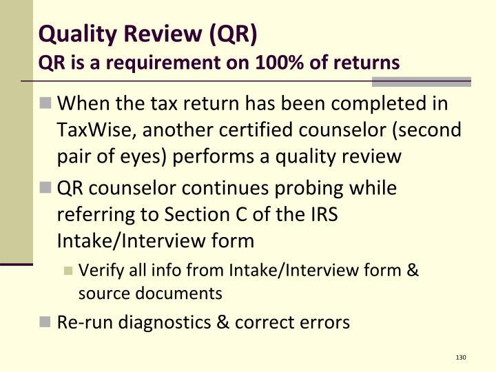 Quality Review (QR)