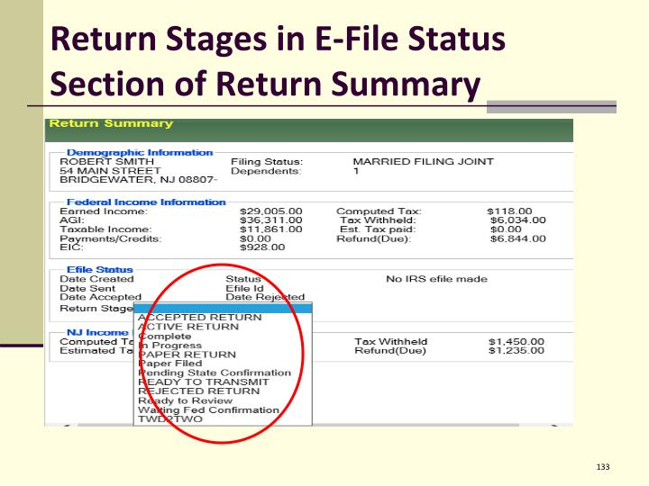 Return Stages in E-File Status Section of Return Summary