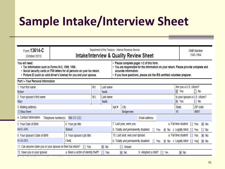 Sample Intake/Interview Sheet