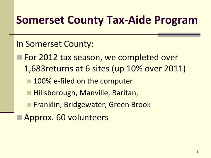 Somerset County Tax-Aide Program