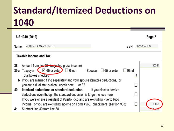 Standard/Itemized Deductions on 1040
