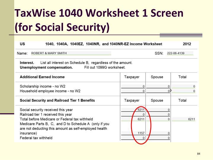 TaxWise 1040 Worksheet 1 Screen