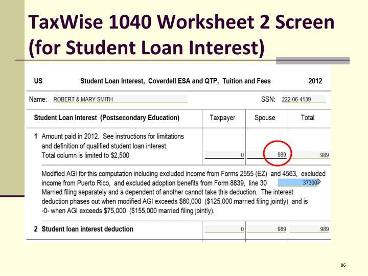 TaxWise 1040 Worksheet 2 Screen