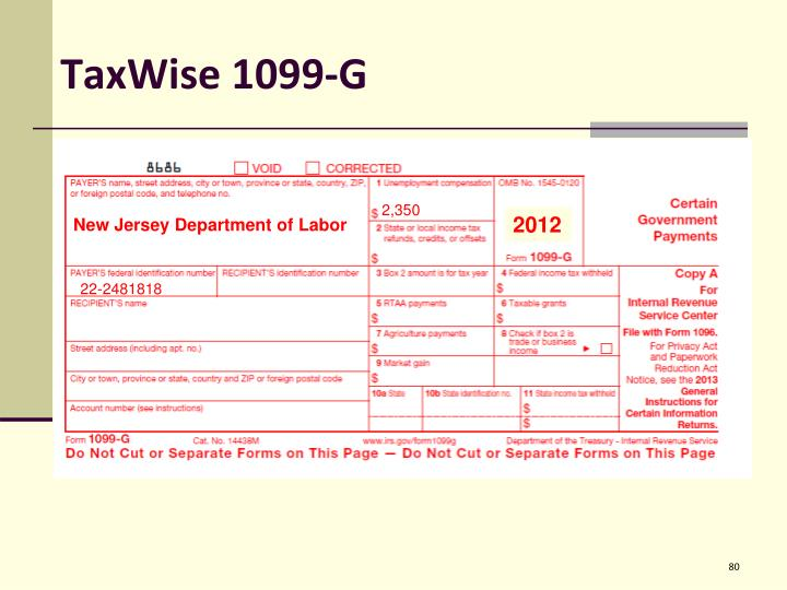 TaxWise 1099-G