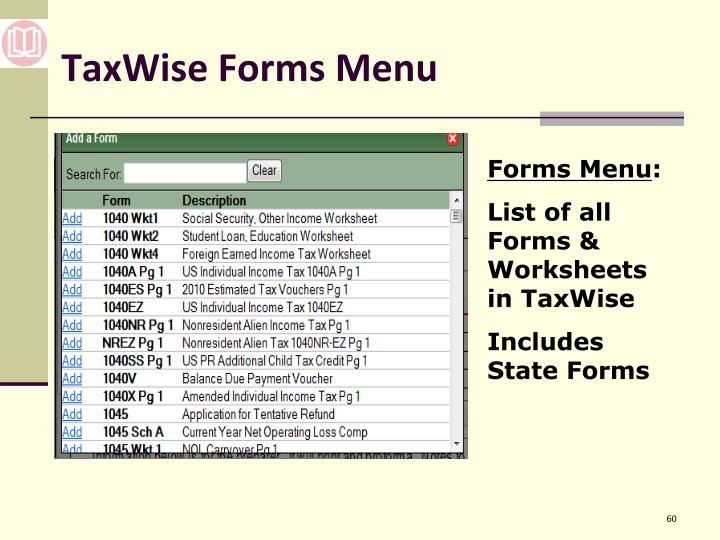 TaxWise Forms Menu
