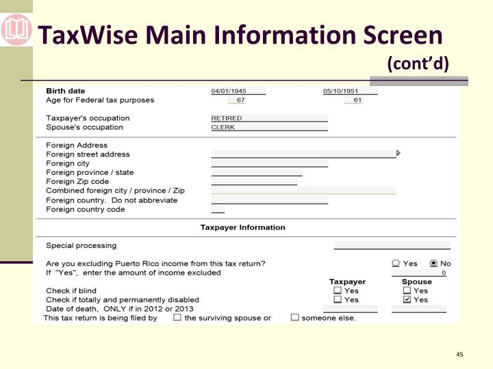 TaxWise Main Information Screen