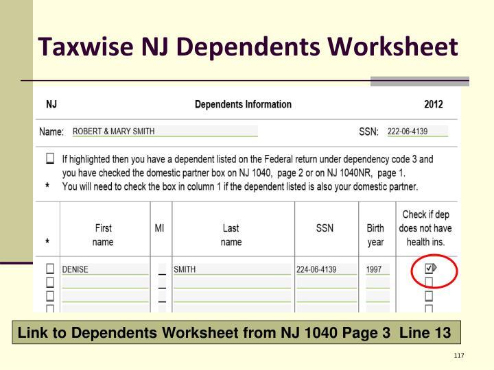 Taxwise NJ Dependents Worksheet