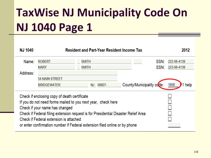 TaxWise NJ Municipality Code On NJ 1040 Page 1