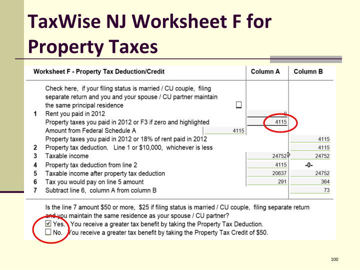 TaxWise NJ Worksheet F for Property Taxes