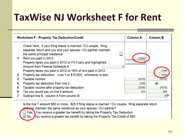 TaxWise NJ Worksheet F for Rent