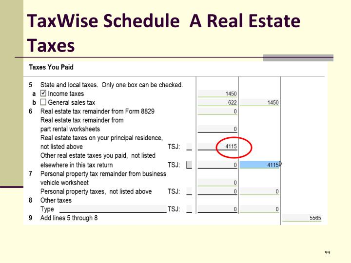 TaxWise Schedule  A Real Estate Taxes