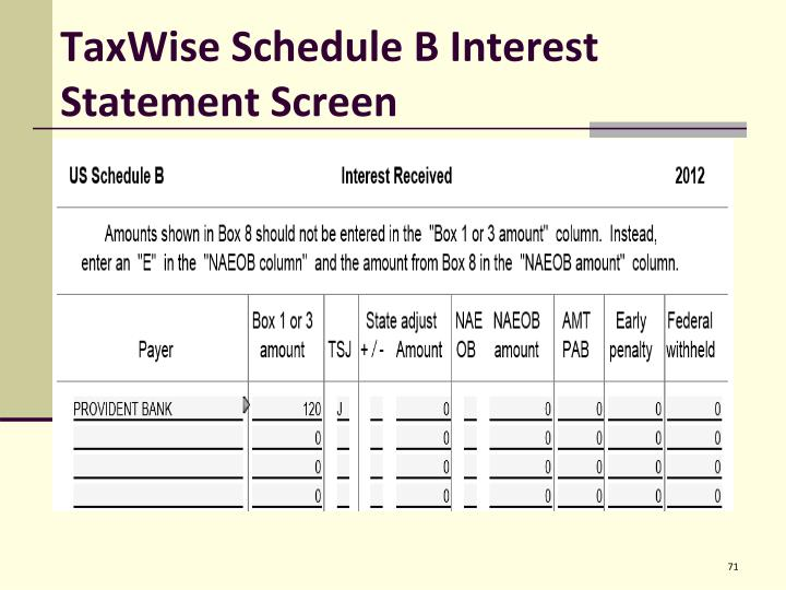 TaxWise Schedule B Interest Statement Screen