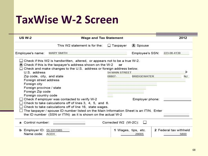 TaxWise W-2 Screen