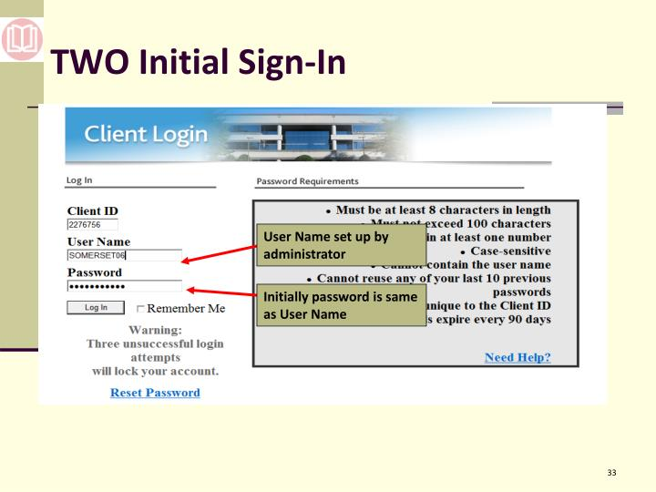 TWO Initial Sign-In