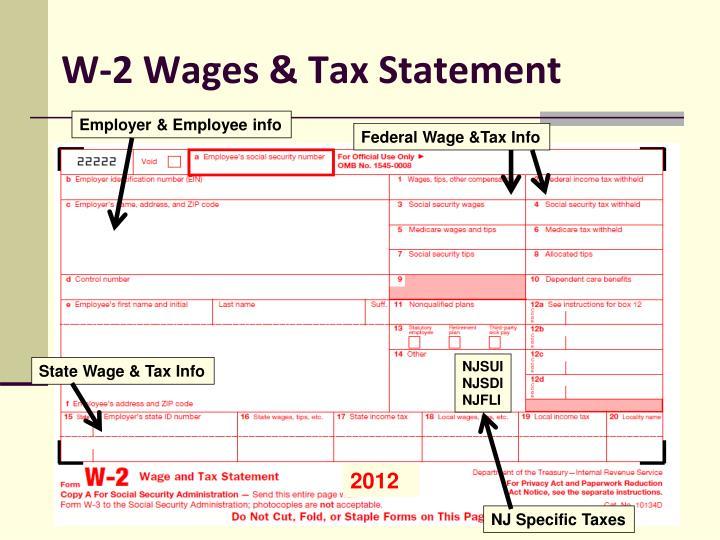 W-2 Wages & Tax Statement
