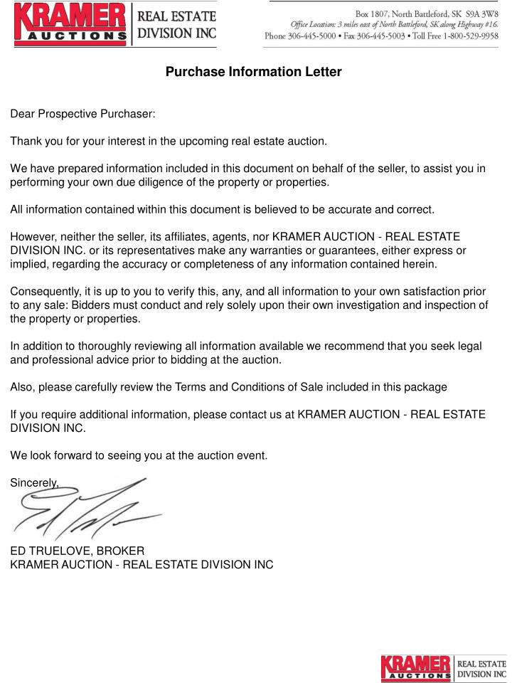 Purchase Information Letter