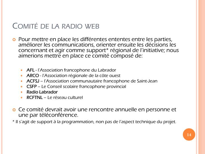 Comité de la radio web