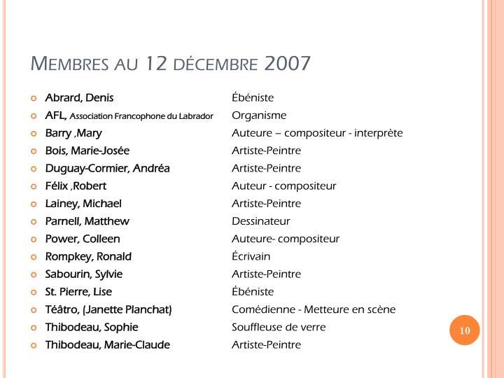 Membres au 12 décembre 2007