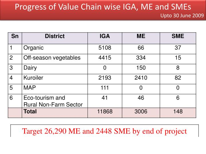 Progress of Value Chain wise IGA, ME and SMEs