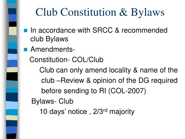 Club constitution bylaws