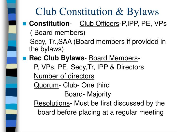Club Constitution & Bylaws