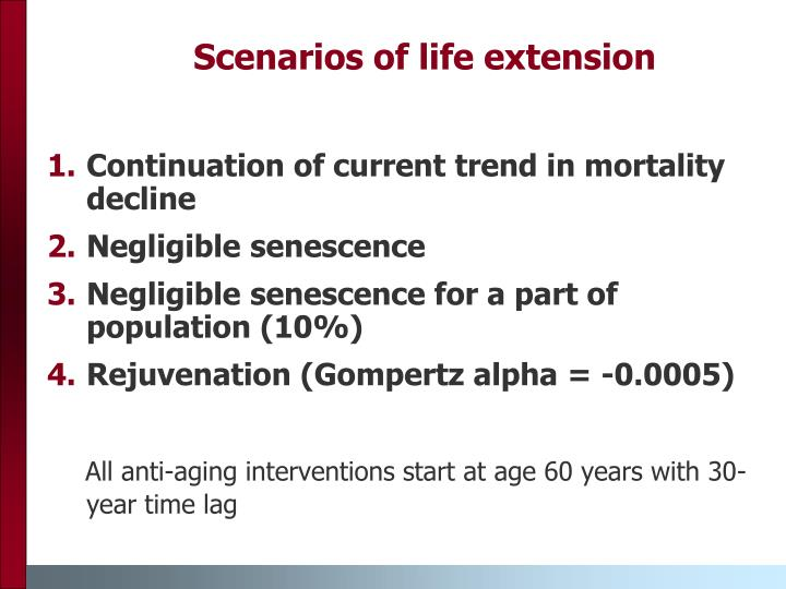 Scenarios of life extension