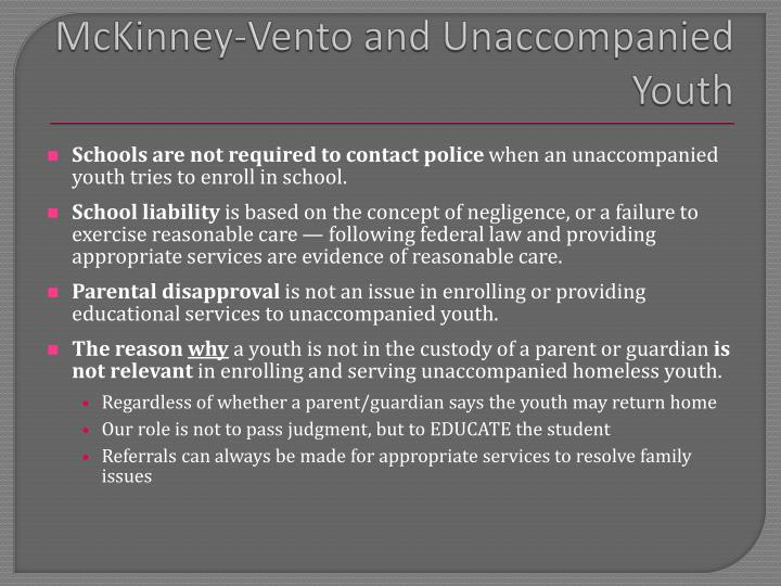 McKinney-Vento and Unaccompanied Youth