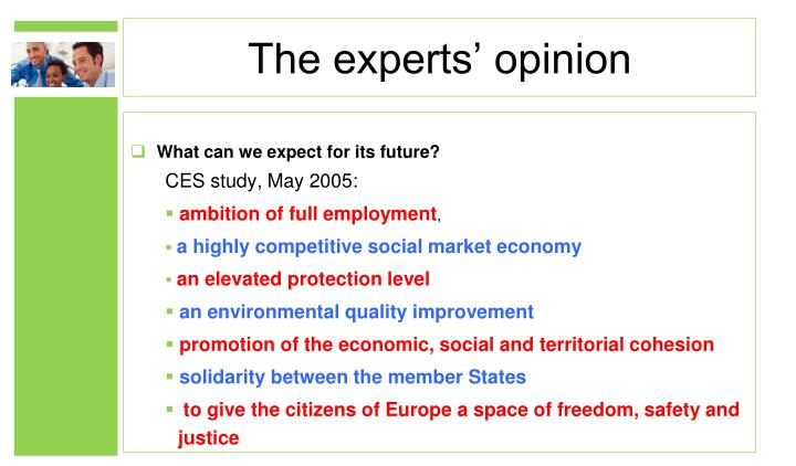 The experts' opinion