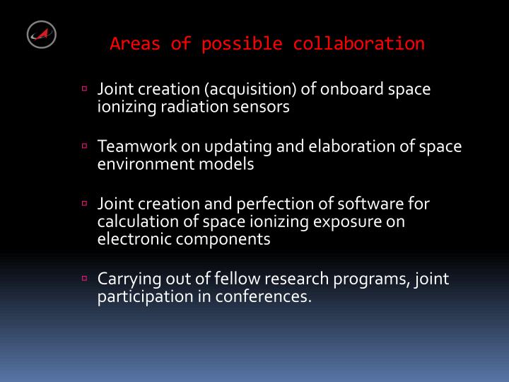 Areas of possible collaboration