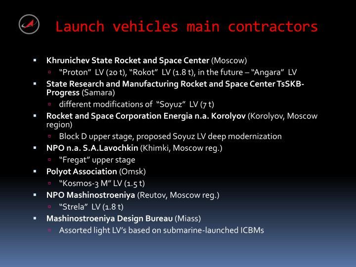 Launch vehicles main contractors