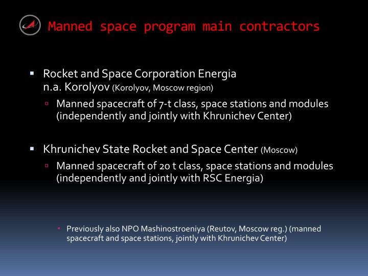 Manned space program main contractors