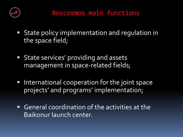 Roscosmos main functions