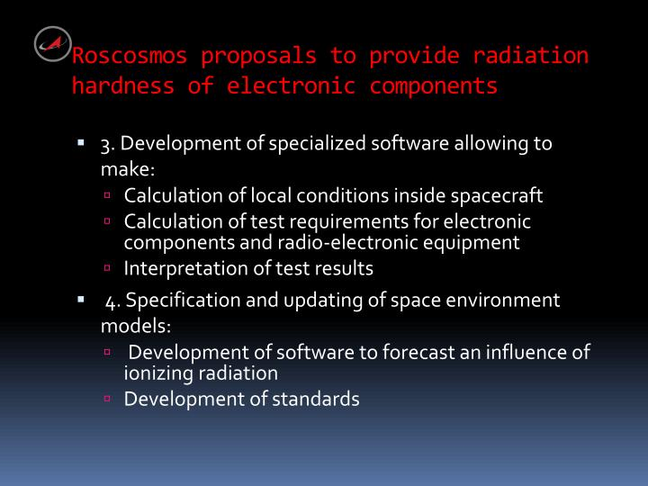 Roscosmos proposals to provide radiation hardness of electronic components