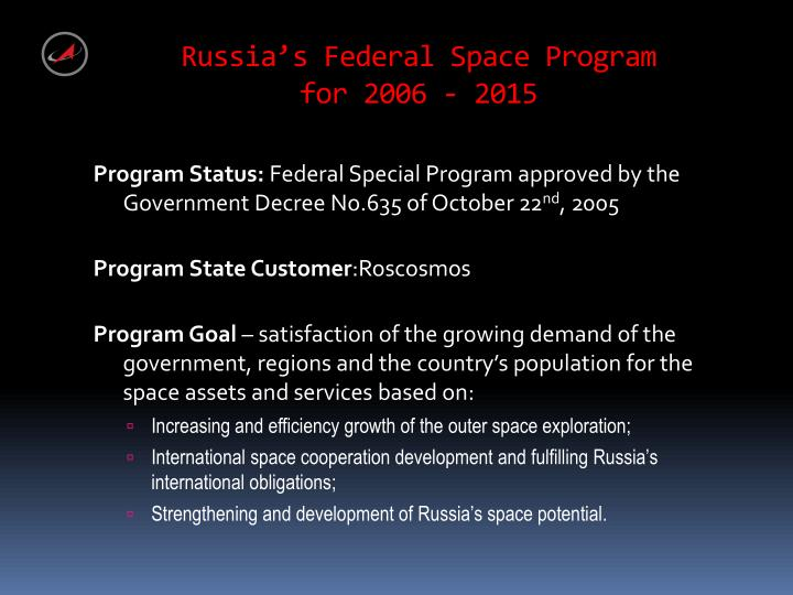 Russia's Federal Space