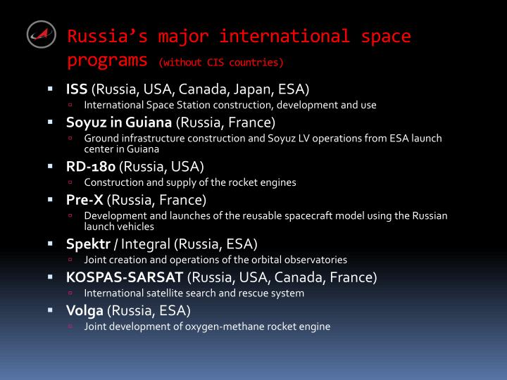 Russia's major international space programs